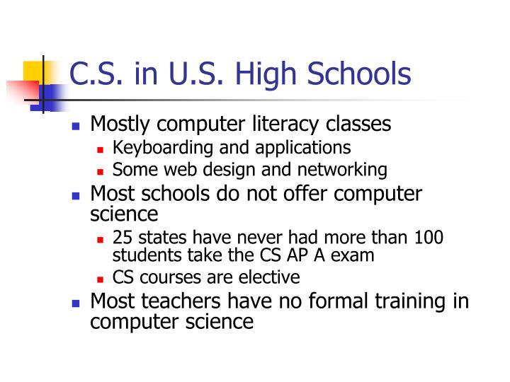 C.S. in U.S. High Schools