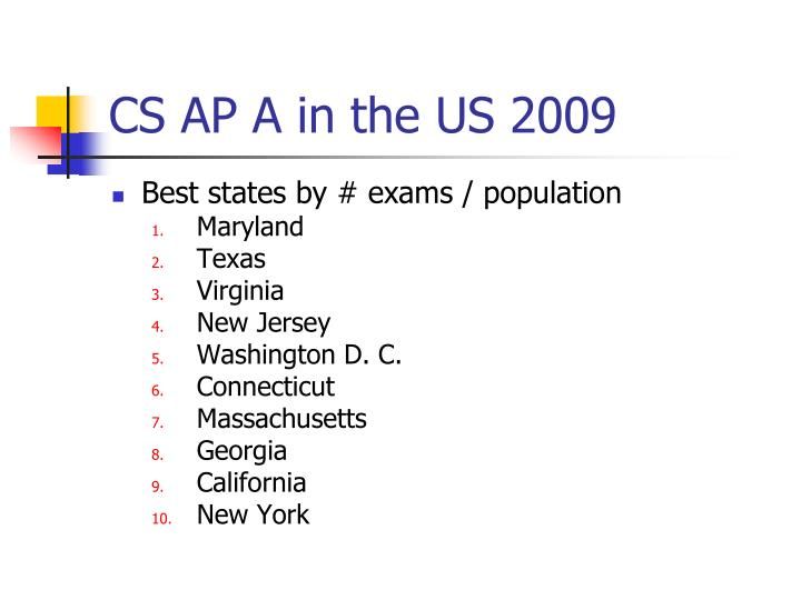 CS AP A in the US 2009