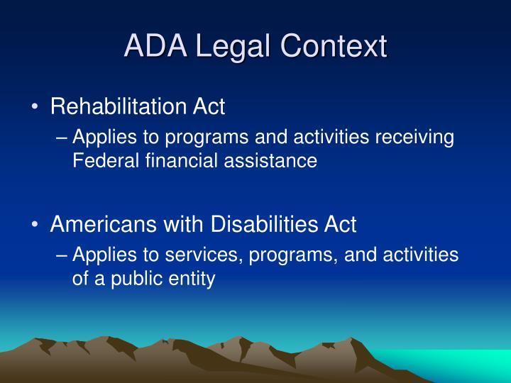 ADA Legal Context
