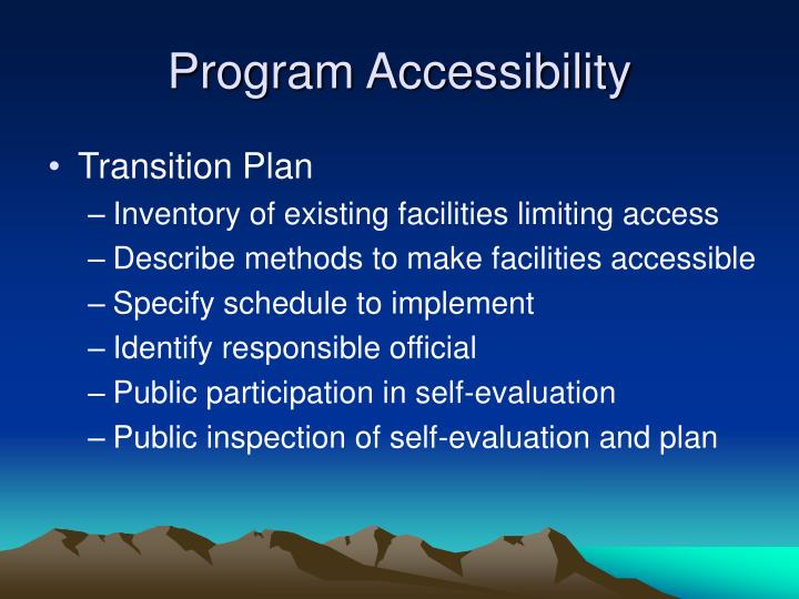 Program Accessibility