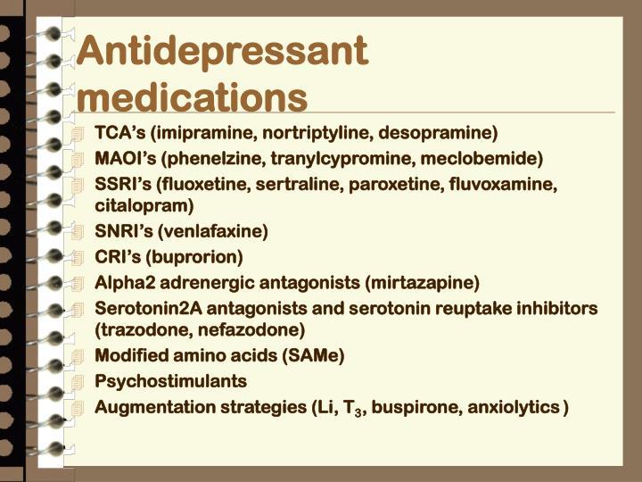 Antidepressant medications