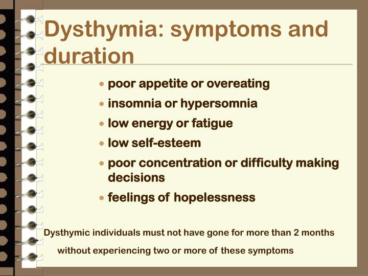Dysthymia: symptoms and duration