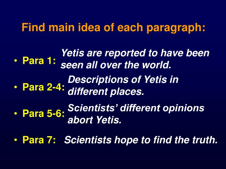 Find main idea of each paragraph: