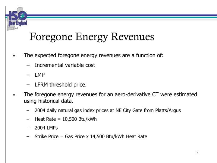 Foregone Energy Revenues