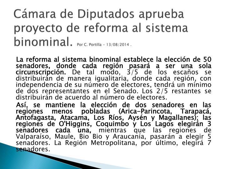 Cámara de Diputados aprueba proyecto de reforma al sistema
