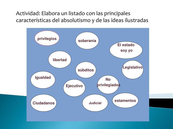 Actividad: Elabora un listado con las principales características del absolutismo y de las ideas ilustradas