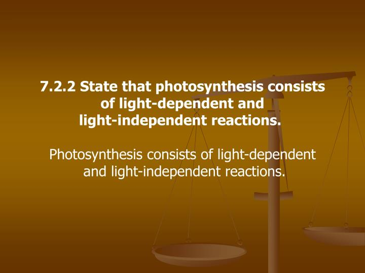 7.2.2 State that photosynthesis consists