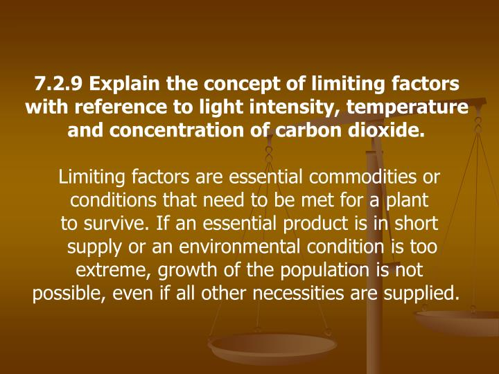 7.2.9 Explain the concept of limiting factors