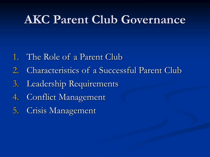 Akc parent club governance1