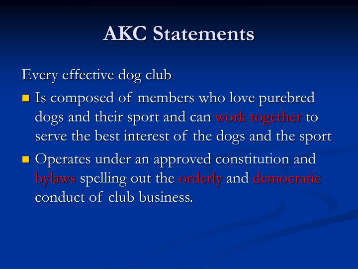 AKC Statements