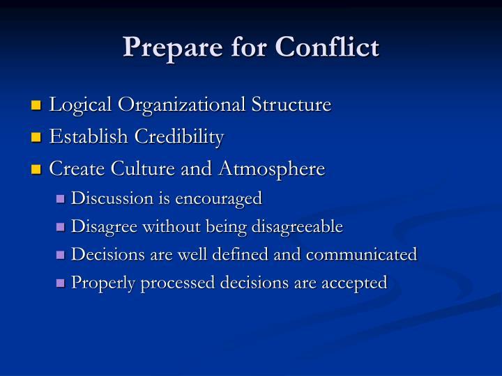 Prepare for Conflict