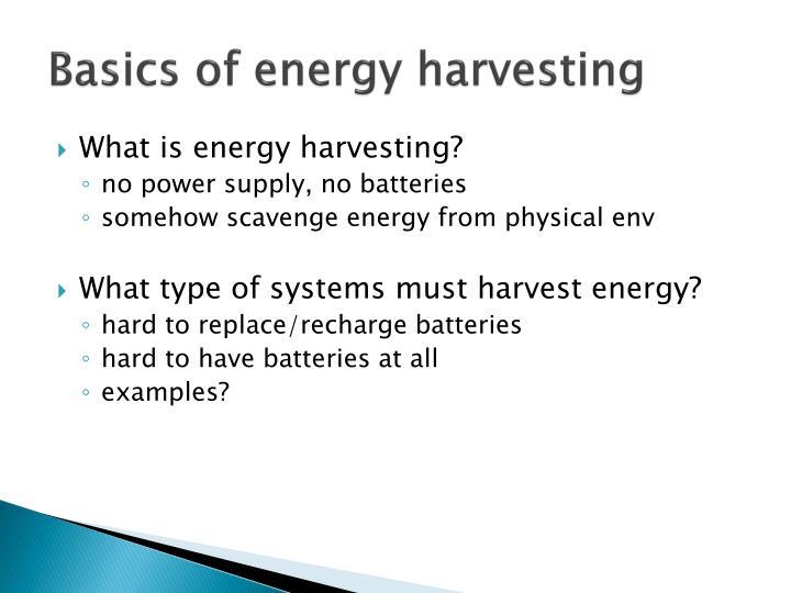 Basics of energy harvesting