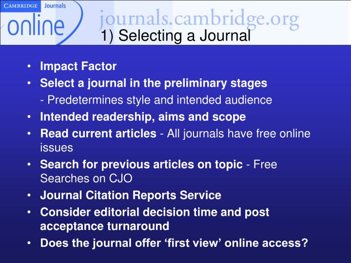 1) Selecting a Journal