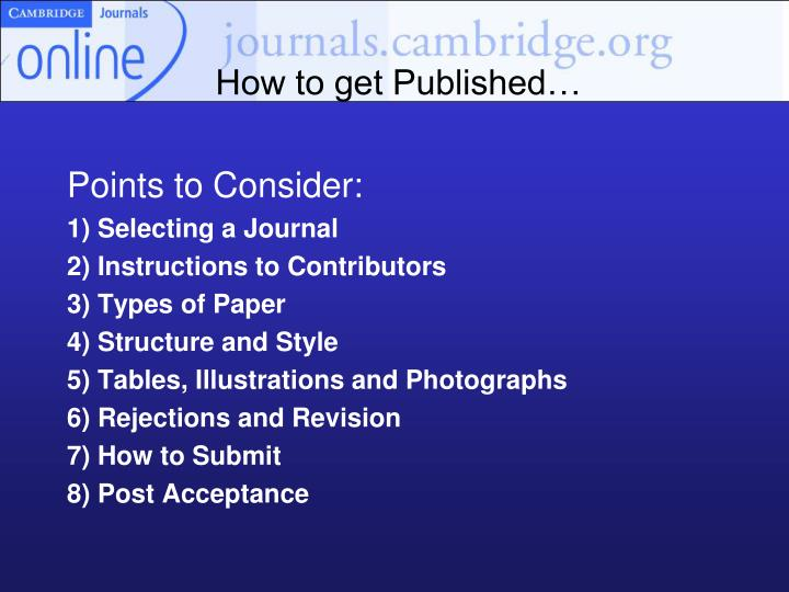 How to get Published…