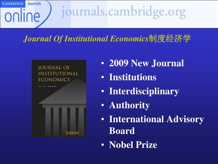 Journal Of Institutional Economics