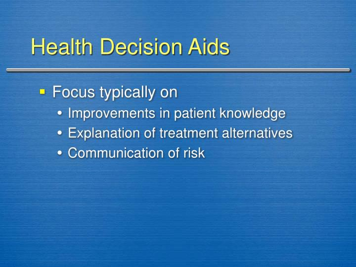 Health Decision Aids