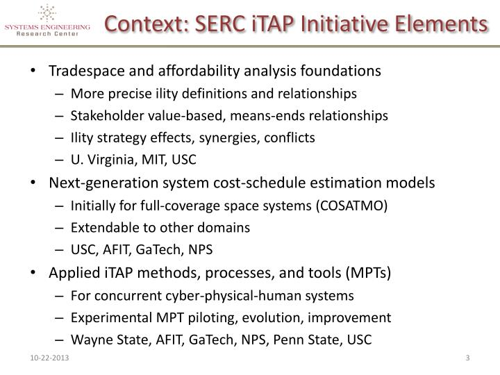 Context serc itap initiative elements
