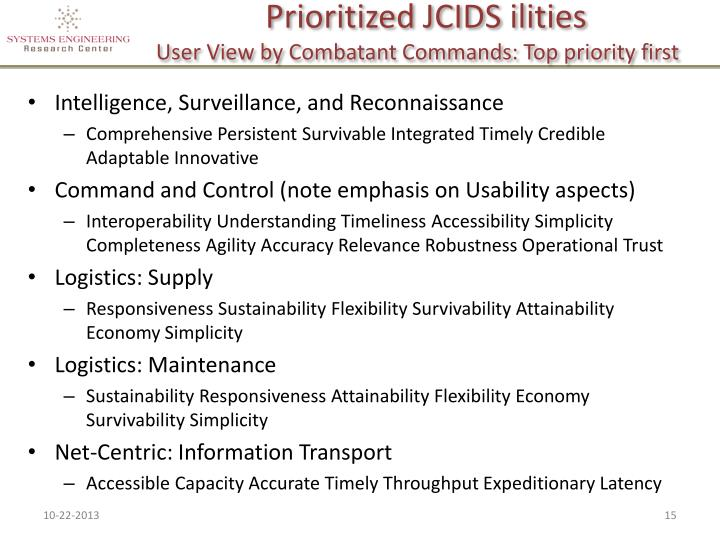 Prioritized JCIDS