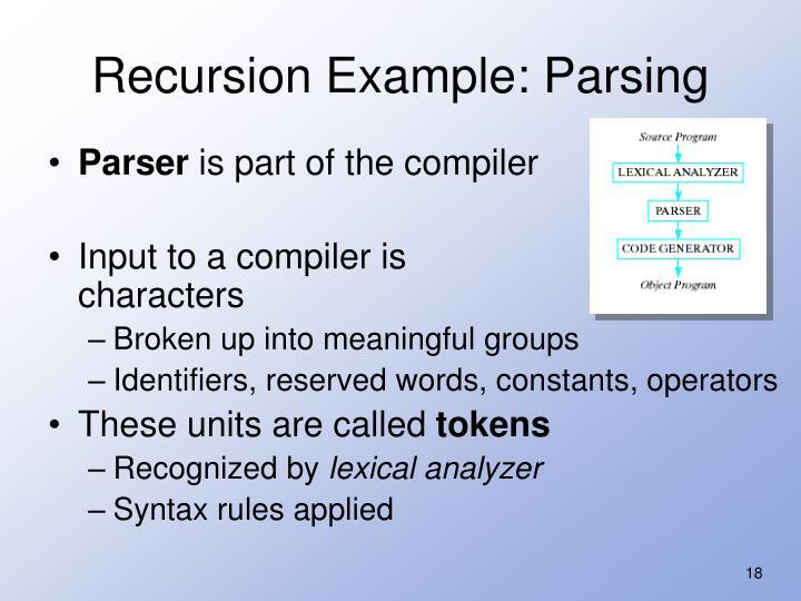 Recursion Example: Parsing