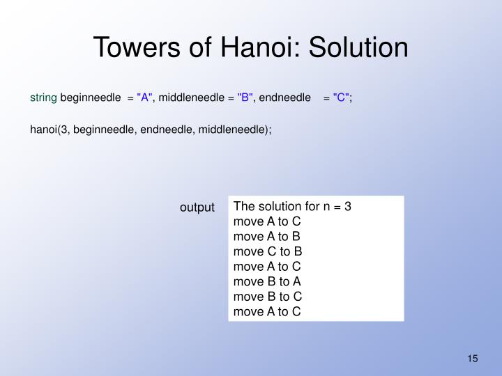 Towers of Hanoi: Solution