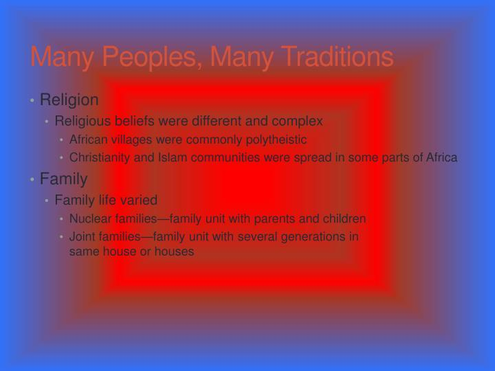 Many Peoples, Many Traditions