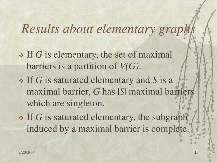 Results about elementary graphs