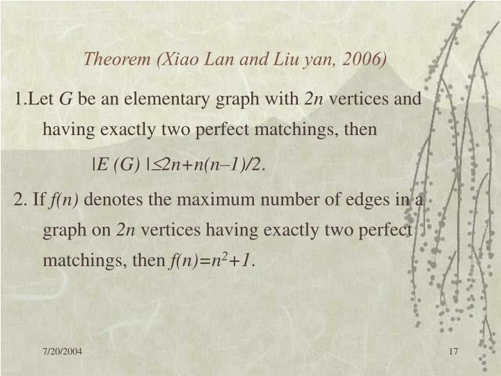 Theorem (Xiao Lan and Liu yan, 2006)