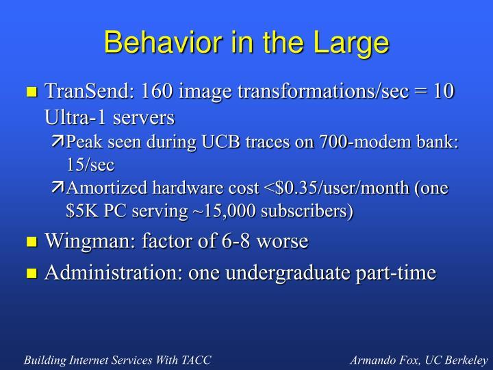 Behavior in the Large