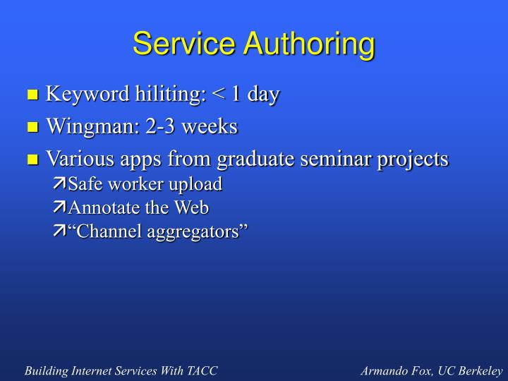 Service Authoring