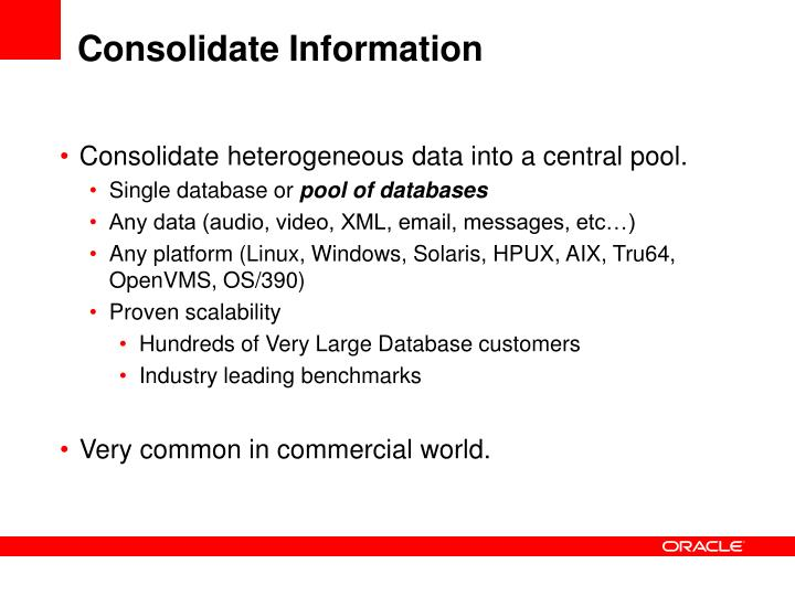 Consolidate Information