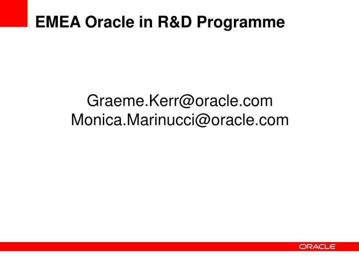 EMEA Oracle in R&D Programme