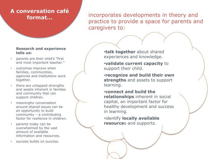 A conversation café format…