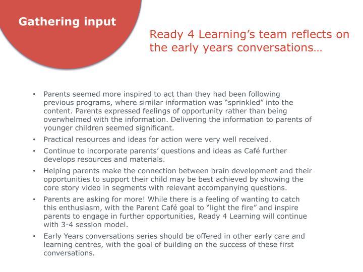 Gathering input