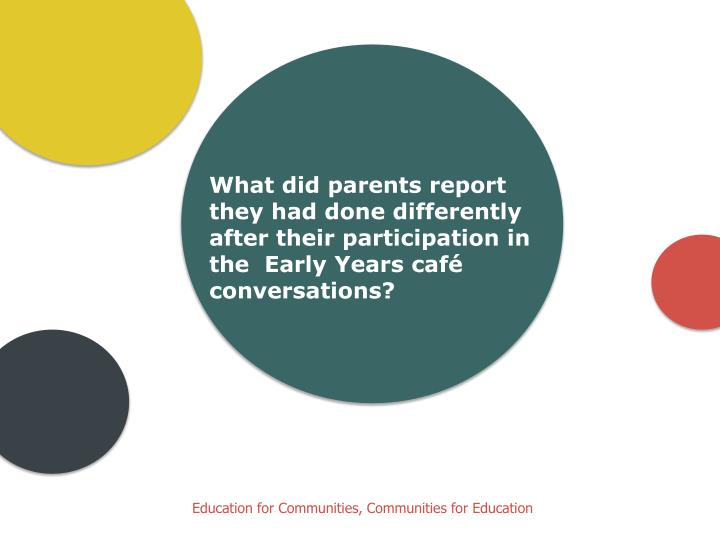 What did parents report they had done differently after their participation in the  Early Years café conversations?