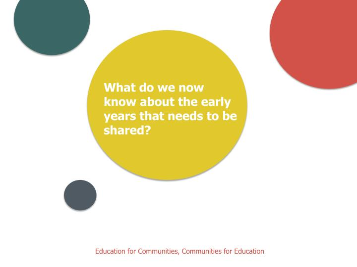 What do we now know about the early years that needs to be shared?