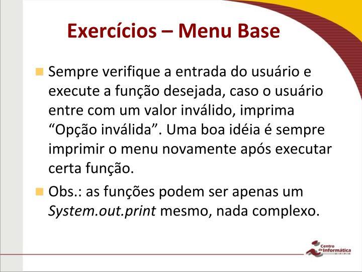Exercícios – Menu Base
