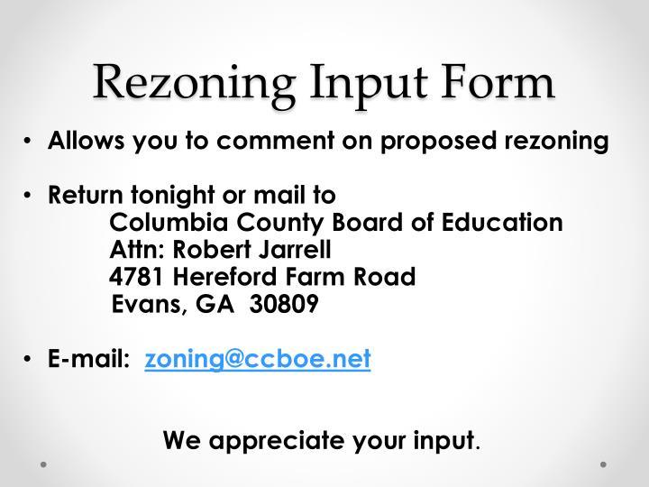 Rezoning Input Form