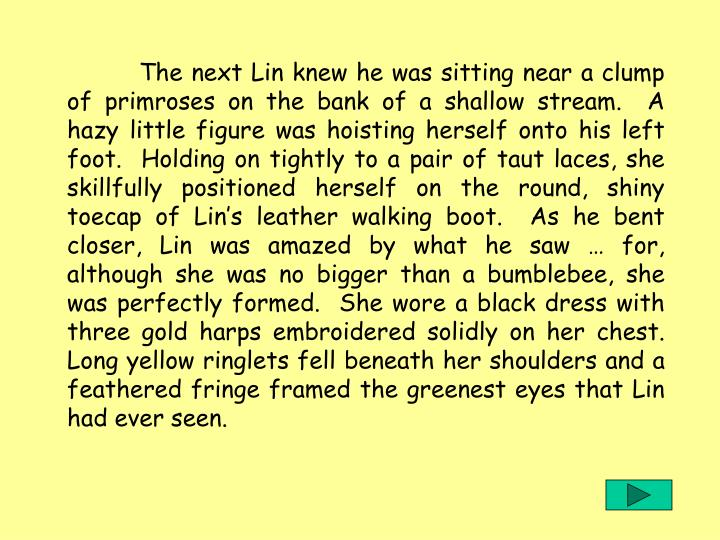 The next Lin knew he was sitting near a clump of primroses on the bank of a shallow stream.  A hazy little figure was hoisting herself onto his left foot.  Holding on tightly to a pair of taut laces, she skillfully positioned herself on the round, shiny toecap of Lins leather walking boot.  As he bent closer, Lin was amazed by what he saw  for, although she was no bigger than a bumblebee, she was perfectly formed.  She wore a black dress with three gold harps embroidered solidly on her chest.  Long yellow ringlets fell beneath her shoulders and a feathered fringe framed the greenest eyes that Lin had ever seen.