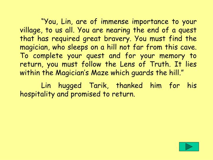 You, Lin, are of immense importance to your village, to us all. You are nearing the end of a quest that has required great bravery. You must find the magician, who sleeps on a hill not far from this cave. To complete your quest and for your memory to return, you must follow the Lens of Truth. It lies within the Magicians Maze which guards the hill.
