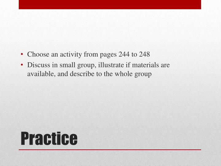 Choose an activity from pages 244 to 248