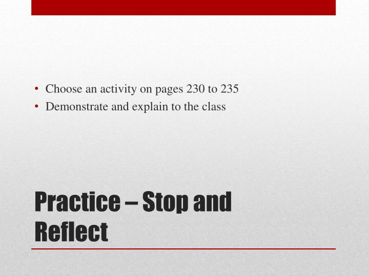 Choose an activity on pages 230 to 235