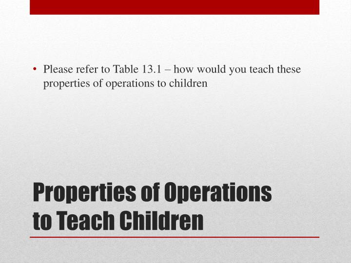 Please refer to Table 13.1 – how would you teach these properties of operations to children