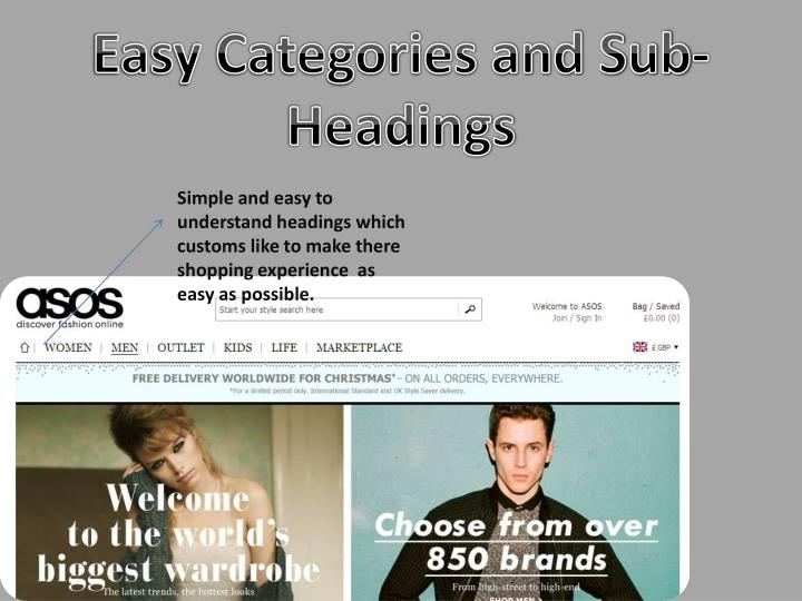 Easy Categories and Sub-Headings