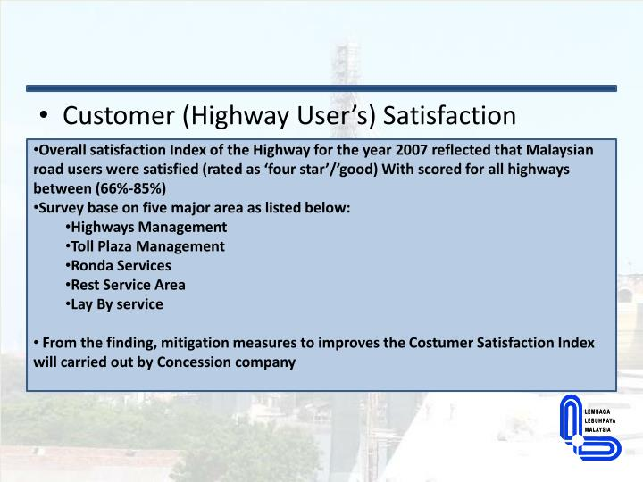 Customer (Highway User's) Satisfaction