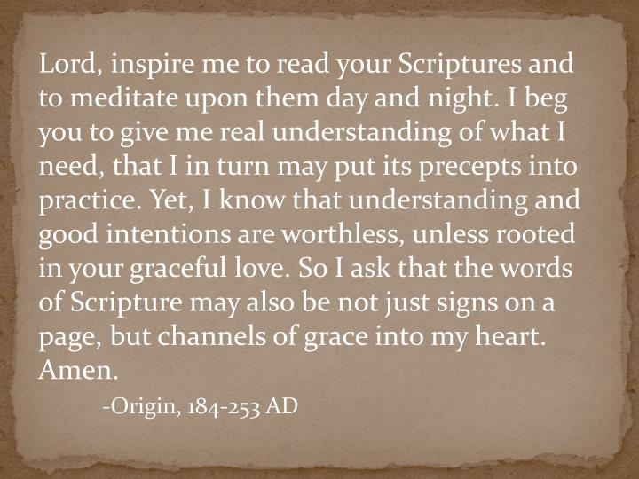Lord, inspire me to read your Scriptures and to meditate upon them day and night. I beg you to give ...