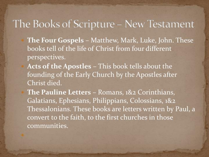 The Books of Scripture – New Testament