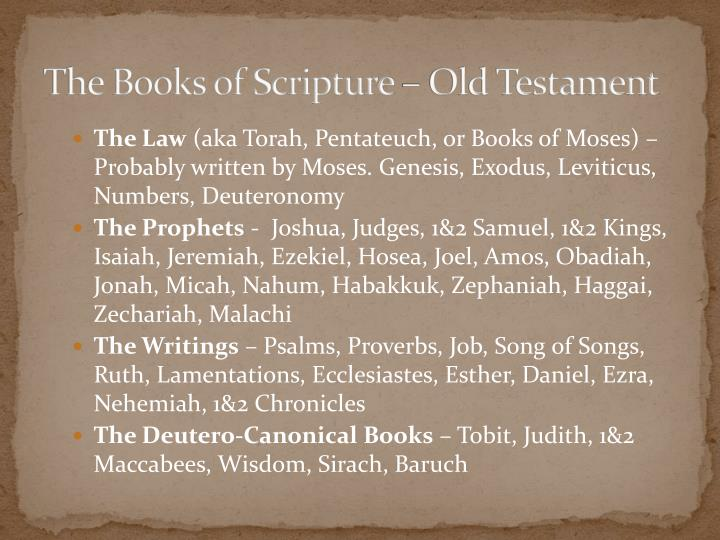 The Books of Scripture – Old Testament