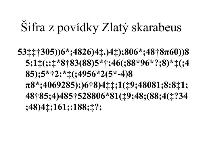 Šifra z povídky Zlatý skarabeus