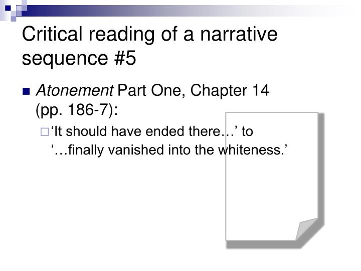 Critical reading of a narrative sequence #5
