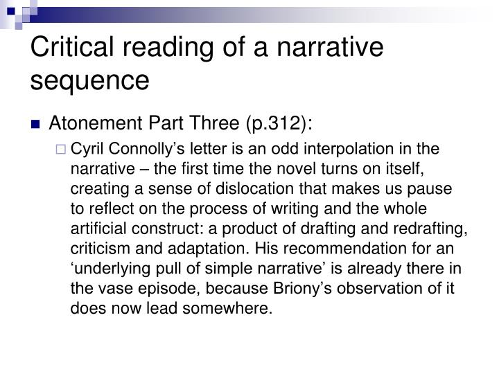 Critical reading of a narrative sequence